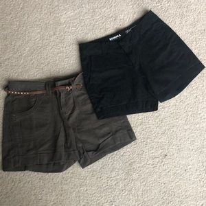 2 pair size 6 shorts black and khaki w/ belt